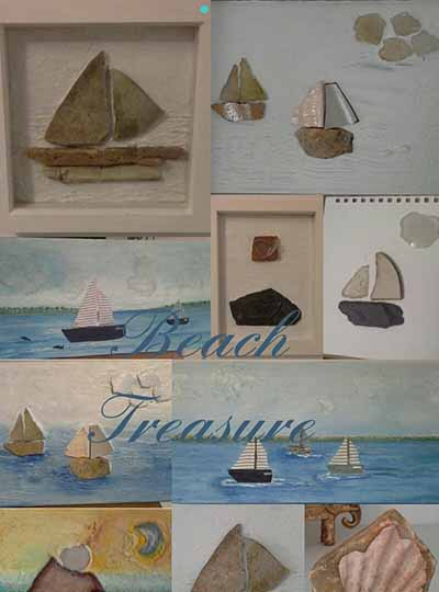 Image of a beach setting mosaic with pictures of boats and shells