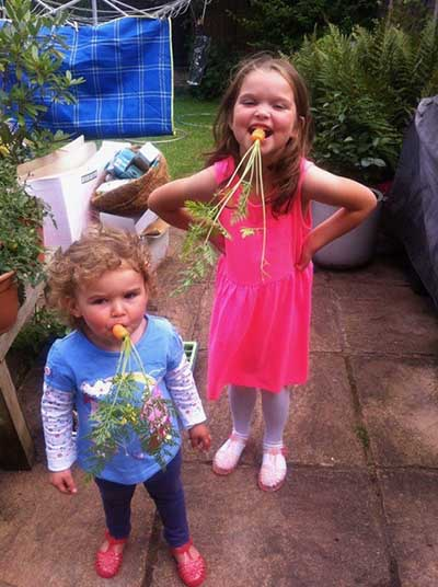 Goff Gleadle's granddaughters in the garden