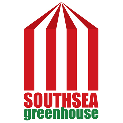Orignal Southsea Greenhouse logo with red and white tent