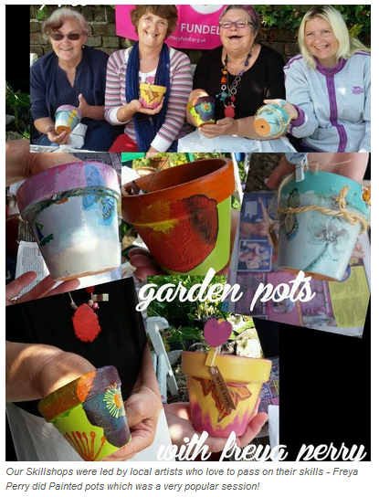 Painted pots skillshop which was very popular