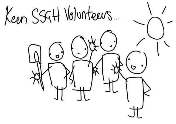 Stick person sketch of Southsea Greenhouse volunteers